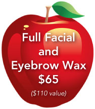 Full facial and eyebrow wax $65
